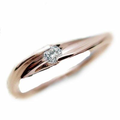ピンキーリング:ピンクゴールドk10:一粒 ダイヤモンド リング/K10pg 指輪 ダイヤ 0.07ct【送料無料】