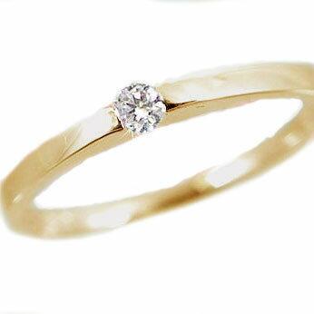 ダイヤモンドリング:イエローゴールドk18/ピンキーリング:一粒ダイヤモンド:指輪/K18 ダイヤ 0.07ct【送料無料】