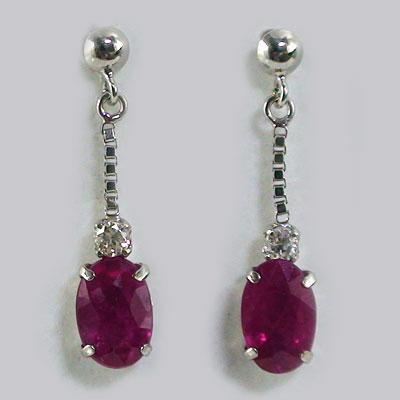 Ma38 Ruby Earrings Diamond Gold K18 Natural Oval Shape K18wg Rakuten Global Market