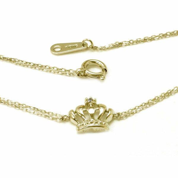 ダイヤモンド ブレスレット イエローゴールドk10 クラウン 王冠【送料無料】