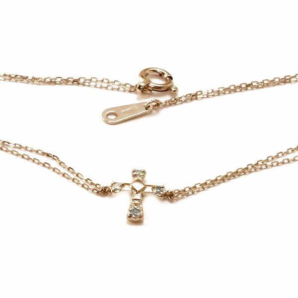 ダイヤモンド ブレスレット ピンクゴールドk10 クロス 十字架【送料無料】