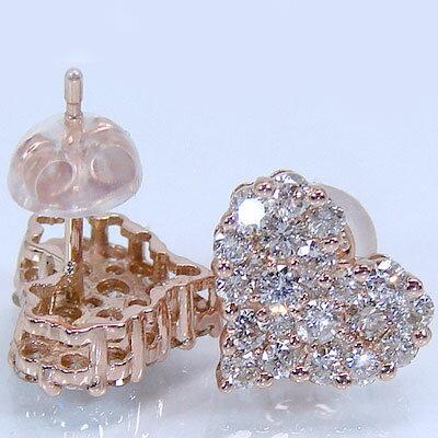ピアス:ハート 数量限定 パヴェ:ダイヤモンドピアス:ピンクゴールドk18:ダイヤ1.00ct 送料無料 休日 贈り物プレゼントとしてオススメ 結婚ブライダル特集