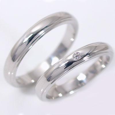 ペアリング 結婚指輪 マリッジリング ホワイトゴールドk18 ダイヤモンド ペア 2本セット K18wg 指輪 ダイヤ 0.02ct 甲丸ストレートライン