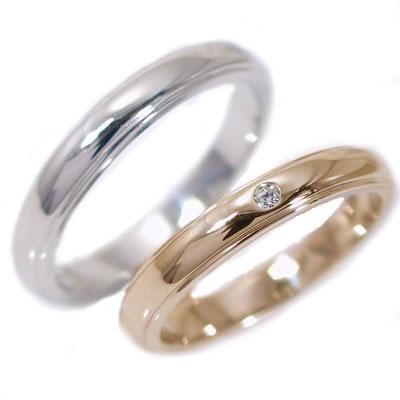 結婚指輪 マリッジリング ペアリング ピンクゴールド ホワイトゴールドK10 ダイヤモンド ペア2本セット K10 指輪 ダイヤ 0.02ct 甲丸 ストレートライン