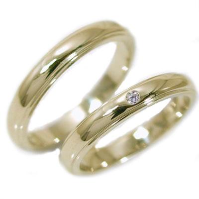 ペアリング ゴールドk18 結婚指輪 マリッジリング ダイヤモンド ペア 2本セット K18yg 指輪 ダイヤ 0.02ct 甲丸ストレートライン