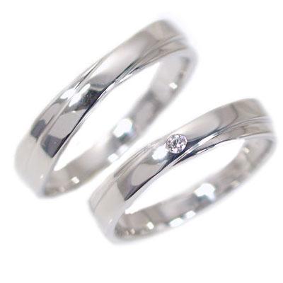 結婚指輪 マリッジリング ペアリング ホワイトゴールドk18 ダイヤモンド ペア2本セット K18wg 指輪 ダイヤ 0.02ct 2本のラインがクロスしたデザイン