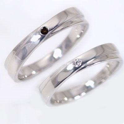 ペアリング プラチナ900 結婚指輪 マリッジリング ダイヤモンド ブラックダイヤ ペア 2本セット Pt900 指輪 ダイヤ 0.02ct ブラックダイヤ 0.02ct 2本のラインがクロスしたデザイン【送料無料】