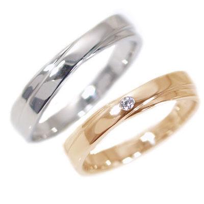 結婚指輪 マリッジリング ペアリング ピンクゴールド ホワイトゴールドK10 ダイヤモンド ペア2本セット K10 指輪 ダイヤ 0.02ct 2本のラインがクロスしたデザイン