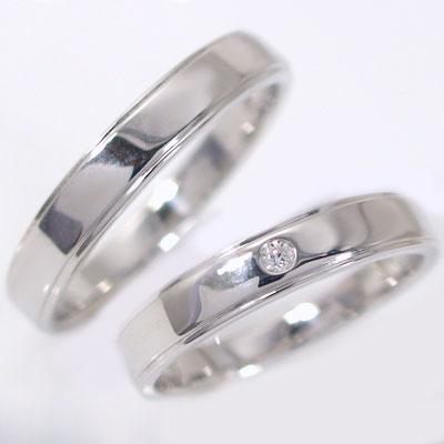 結婚指輪 マリッジリング ペアリング プラチナ900 ダイヤモンド ペア2本セット Pt900 指輪 ダイヤ 0.02ct 平打ち ストレートライン