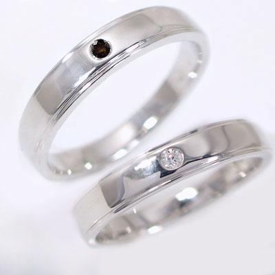 ペアリング ホワイトゴールドk18 結婚指輪 マリッジリング ダイヤモンド ブラックダイヤ ペア 2本セット K18wg 指輪 ダイヤ 0.02ct ブラックダイヤ 0.02ct 平打ちストレートライン