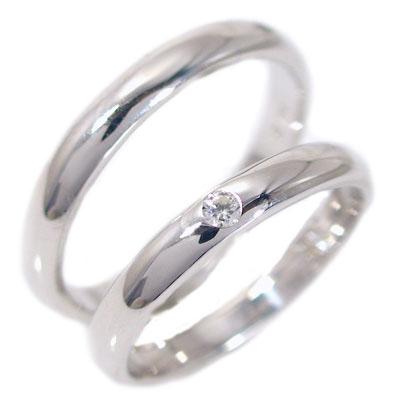 【匠の技】結婚指輪:マリッジリング:ペアリング:プラチナ900:ダイヤモンド:ペア2本セット/Pt900指輪ダイヤ0.05ct:甲丸ストレートライン【送料無料】