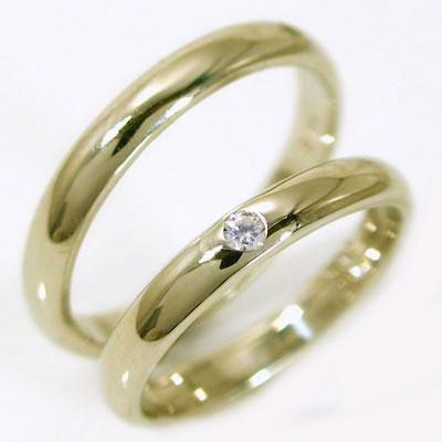 結婚指輪 マリッジリング ペアリング ゴールドk18 ダイヤモンド ペア2本セット K18 指輪 ダイヤ 0.02ct 甲丸ストレートライン
