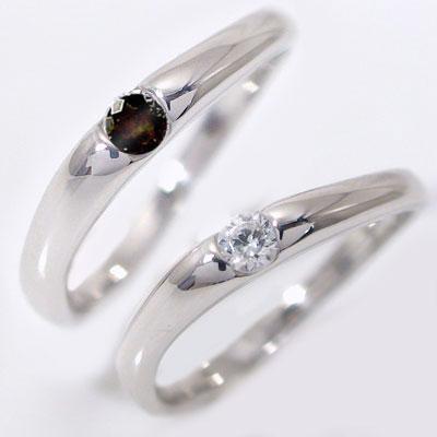 ペアリング 結婚指輪 マリッジリング ホワイトゴールドk10 ダイヤモンド ブラックダイヤ ペア 2本セット K10wg 指輪 ダイヤ 0.1ct ブラックダイヤ 0.1ct