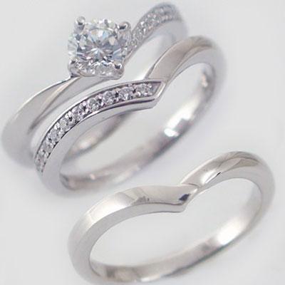 婚約指輪 エンゲージリング 結婚指輪 マリッジリング プラチナ900 3本セット ダイヤモンド 0.5ct G SI2 Good 鑑定書付 V字 Pt900