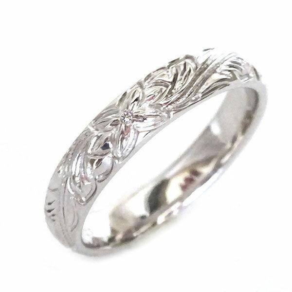 ハワイアン ジュエリー 指輪 ホワイトゴールドk10 リング ダイヤモンド K10wg プルメリア スクロール【送料無料】