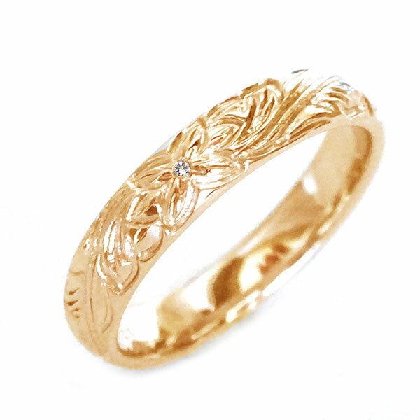 ハワイアン ジュエリー 指輪 ピンクゴールドk10 リング ダイヤモンド K10pg プルメリア スクロール【送料無料】