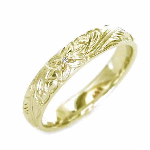 ハワイアン ジュエリー 指輪 イエローゴールドk10 リング ダイヤモンド K10yg プルメリア スクロール【送料無料】