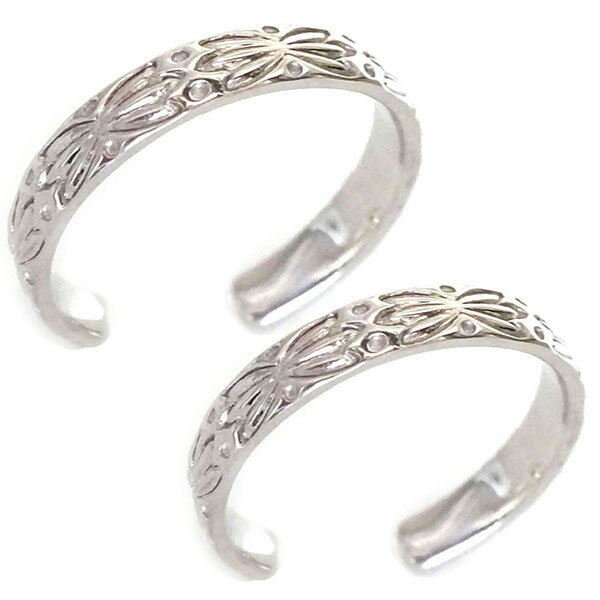 ハワイアン ジュエリー ペアリング 2本セット ホワイトゴールドk10 結婚指輪 マリッジリング K10wg ボタニカル フリーサイズ【送料無料】