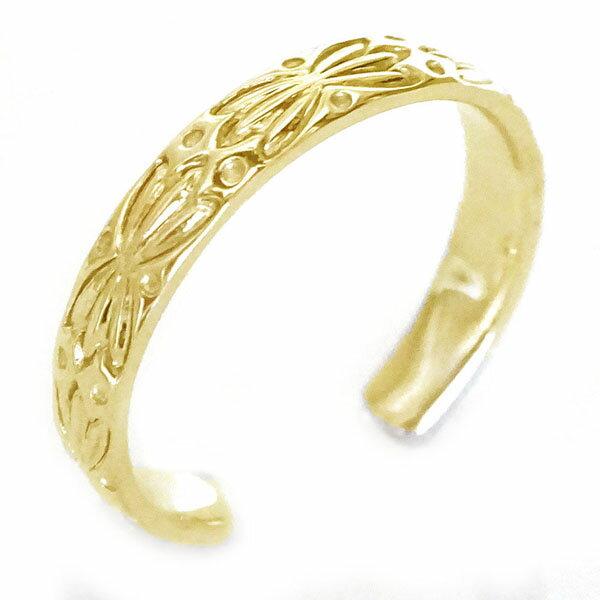 ボタニカル柄のハワイアンリング イエローゴールドk18 人気 指輪 贈り物プレゼントに  ハワイアン ジュエリー 指輪 イエローゴールドk18 リング K18 ボタニカル フリーサイズ【送料無料】