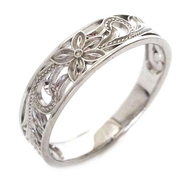 ハワイアンジュエリー 指輪 ホワイトゴールドk10 リング K10wg プルメリア スクロール【送料無料】