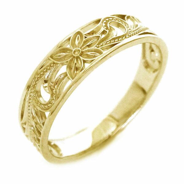 プルメリアとスクロール柄の透かし ハワイアンリング ゴールドk18 指輪 人気 贈り物プレゼントに  ハワイアンジュエリー 指輪 イエローゴールドk18 リング K18yg プルメリア スクロール【送料無料】