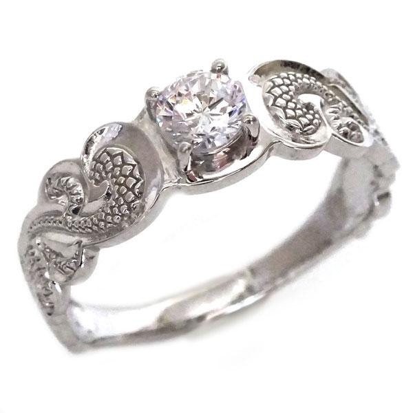 SIクラスダイヤモンド使用 カレイキニ柄のハワイアンリング プラチナ900  ハワイアンジュエリー 指輪 プラチナ リング ダイヤモンド Pt900 カレイキニ【送料無料】