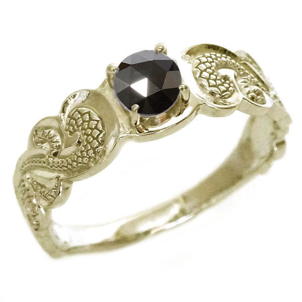 ハワイアンジュエリー 指輪 イエローゴールドk10 メンズ リング ブラックダイヤモンド K10yg カレイキニ【送料無料】