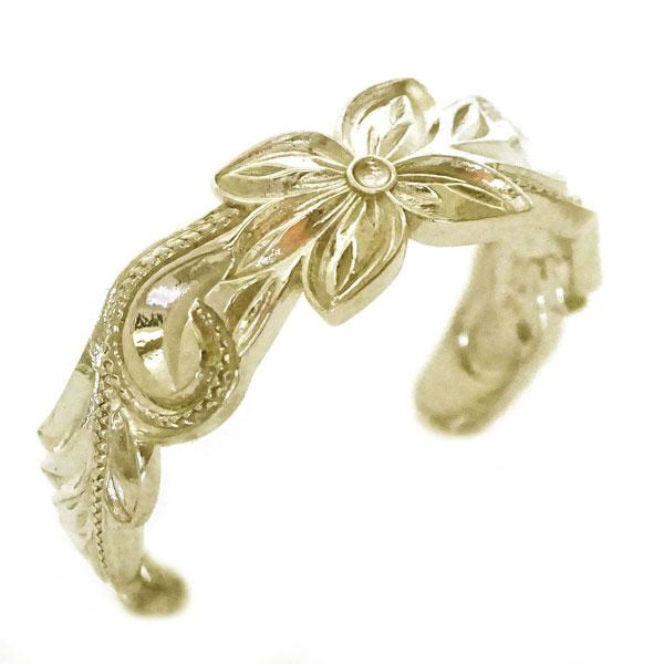 プルメリアとスクロール柄のハワイアンリング ゴールドk10 指輪 フリーサイズ 人気 贈り物プレゼントに  ハワイアンジュエリー 指輪 イエローゴールドk10 リング K10yg プルメリア スクロール フリーサイズ【送料無料】