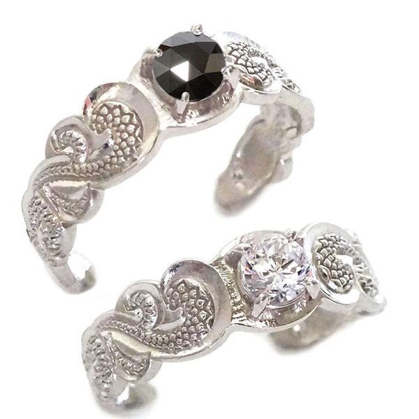 ハワイアンジュエリー ペアリング 2本セット ホワイトゴールドk10 結婚指輪 マリッジリング SIクラス ダイヤモンド ブラックダイヤ K10wg カレイキニ フリーサイズ【送料無料】