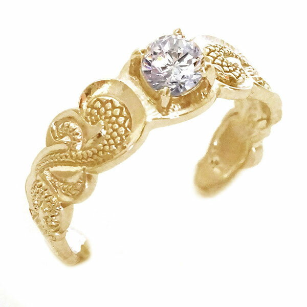 ハワイアンジュエリー 指輪 ピンクゴールドk18 リング ダイヤモンド K18pg カレイキニ フリーサイズ【送料無料】
