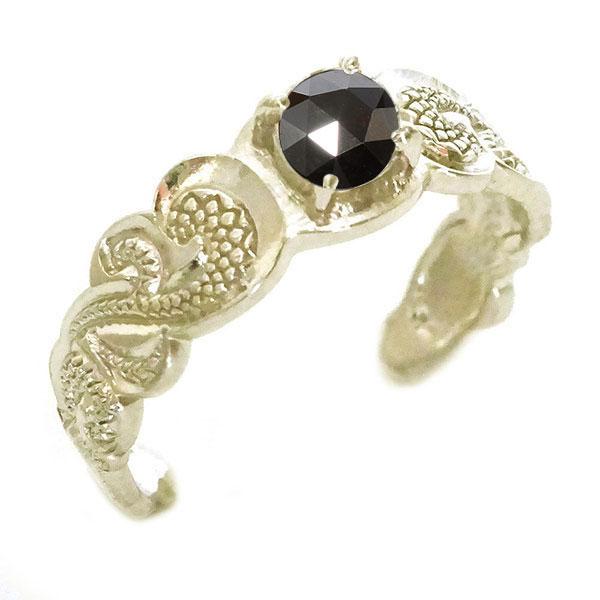 ハワイアンジュエリー 指輪 イエローゴールドk10 メンズ リング ブラックダイヤモンド K10yg カレイキニ フリーサイズ【送料無料】
