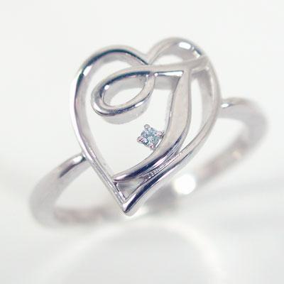 イニシャルリング【T】オープンハート:ホワイトゴールドk10:ブルーダイヤ/K10wg指輪:名前,ネームの頭文字アルファベットT【送料無料】