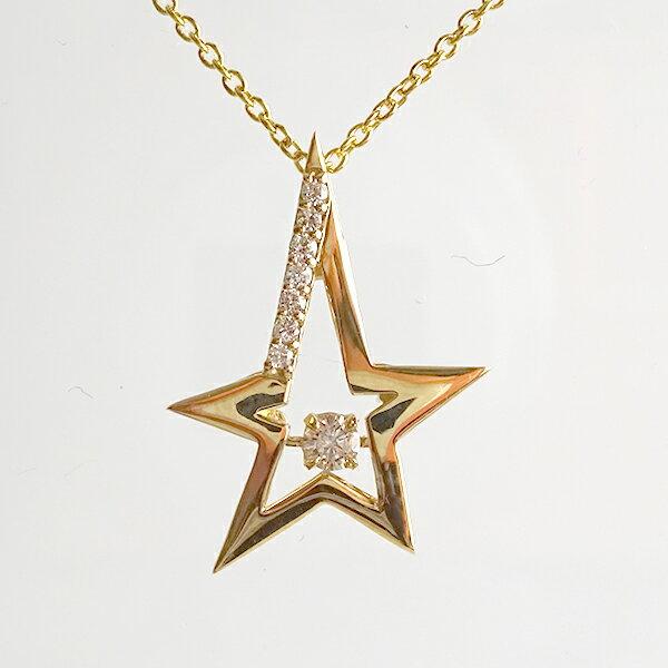 ダイヤモンド 星 スター ペンダント ネックレス イエローゴールドk18 揺れる ダンス ムーヴィング スウィング K18 【送料無料】