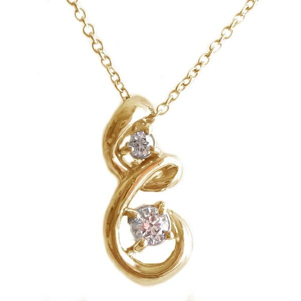 ピンクゴールド K18 ペンダント ネックレス 4月誕生石 ダイヤモンド K18pg ダイヤ【送料無料】