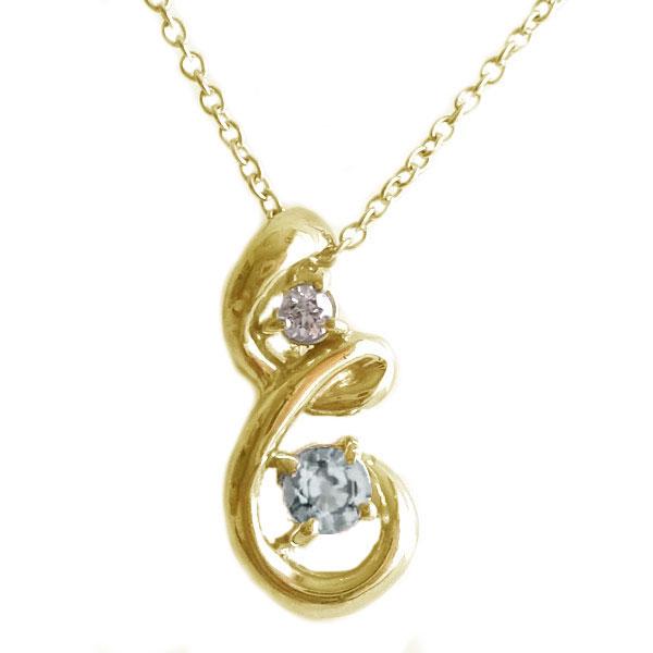 ゴールド K10 ペンダント ネックレス 3月誕生石 アクアマリン K10yg ダイヤモンド 誕生日 記念日 贈り物 【送料無料】