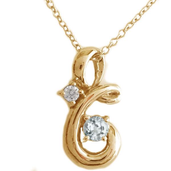 ピンクゴールド K18 ペンダント ネックレス 3月誕生石 アクアマリン K18pg ダイヤモンド【送料無料】