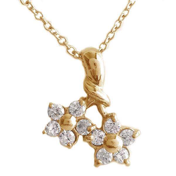 ペンダント ネックレス ピンクゴールド K18 4月誕生石 ダイヤモンド フラワー 花 K10pg ダイヤ【送料無料】