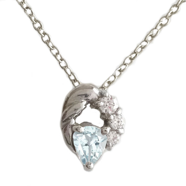 3月誕生石 アクアマリン ネックレス ホワイトゴールドk18 ホワイトゴールド K18 ファッション通販 K18wg ペンダント 送料無料 ペアシェイプ 本日の目玉 ダイヤモンド