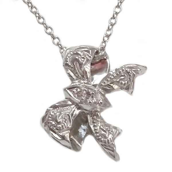 ハワイアンジュエリー ペンダント ネックレス ホワイトゴールドk18 ダイヤモンド リボン K18wg【送料無料】