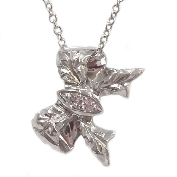 リボンモチーフ 公式ストア ダイヤモンド ハワイアンネックレス ホワイトゴールドk18 ハワイアンジュエリー ペンダント 送料無料 超人気 ネックレス K18wg リボン