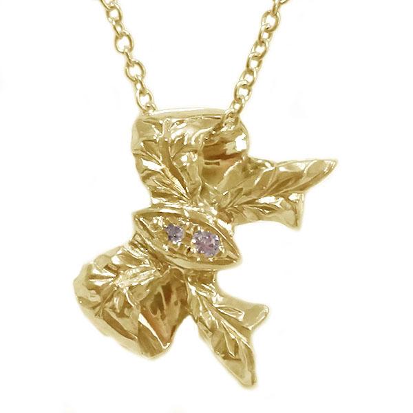 ハワイアンジュエリー ペンダント ネックレス ゴールドk18 ダイヤモンド リボン K18yg【送料無料】