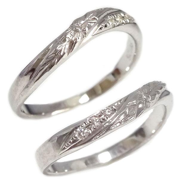 ハワイアン ペアリング プラチナ900 ダイヤモンド 結婚指輪 マリッジリング  ハワイアン ジュエリー ペアリング 2本セット プラチナ900 ダイヤモンド 結婚指輪 マリッジリング Pt900 プルメリア【送料無料】