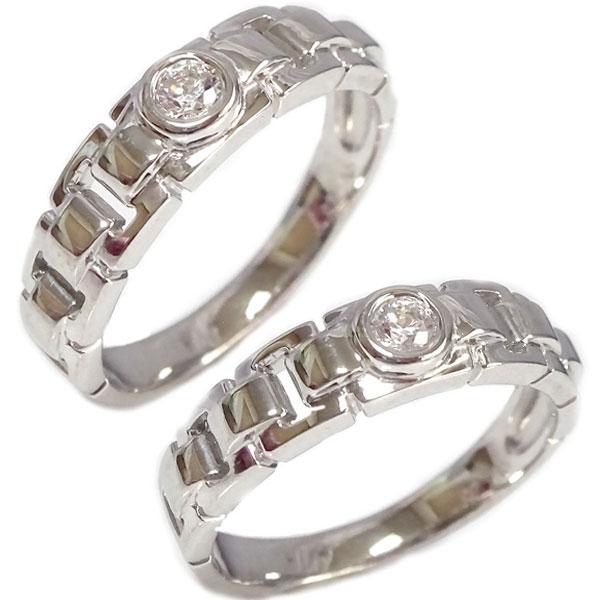 ペアリング 2本セット ホワイトゴールドk18 ダイヤモンド 結婚指輪 マリッジリング K18wg【送料無料】
