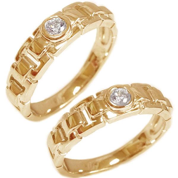 結婚指輪 マリッジリング ピンクゴールドk10 ダイヤモンド ペアリング ペア2本セット K10pg ブライダル【送料無料】