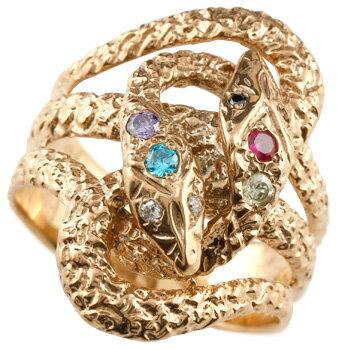 指輪 スネークリング ピンクゴールドK18/蛇 ダイヤモンド ブラックダイヤモンド ブルートパーズ ペリドット ルビー タンザナイト【送料無料】