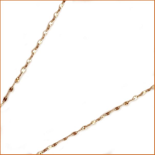 ピンクゴールド K18 ネックレス 40cm 1.7ミリ幅 ミラーエクレア チェーン 地金ネックレス K18pg【送料無料】