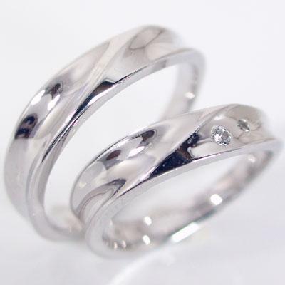 ペアリング 結婚指輪 マリッジリング ホワイトゴールドk18 ダイヤモンド ペア 2本セット K18wg 指輪 ダイヤ 0.03ct