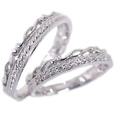 ペアリング 結婚指輪 マリッジリング ホワイトゴールドk10 ダイヤモンド ペア 2本セット K10wg 指輪 ダイヤ 0.1ct【送料無料】
