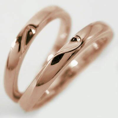 結婚指輪 マリッジリング ペアリング ピンクゴールドk18 ペア 2本セット K18pg 指輪 重ねるとハート