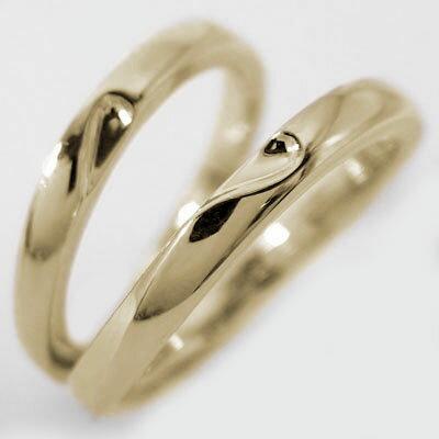 結婚指輪 マリッジリング ペアリング イエローゴールドk10 ペア2本セット K10 指輪 重ねるとハート
